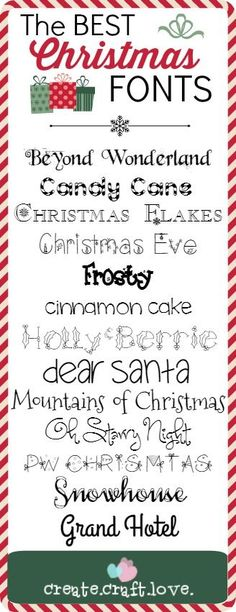 BEST Christmas Fonts The BEST Christmas Fonts via ~~ Free fonts w/ links}Link Link or Links may refer to: Christmas Fonts, Noel Christmas, Christmas Printables, Christmas Projects, All Things Christmas, Holiday Crafts, Holiday Fun, Best Christmas Cards, Christmas Sayings For Cards