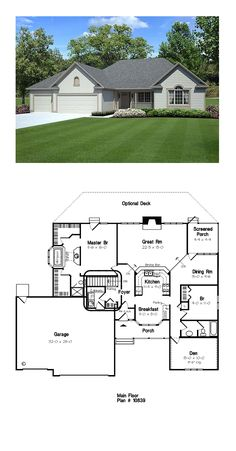 Ranch House Plan 49189 | Total Living Area: 1789 sq. ft., 3 bedrooms on