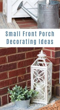 Learn how to decorate a small porch. This covered front entrance shows how to decorate on a budget with a layered rug, lantern and plants. A simple vintage farmhouse country vibe brings the outdoors in. This DIY has summer and spring with flowers. Vintage Farmhouse, Farmhouse Front, Country Farmhouse Decor, Country Porch Decor, Outdoor Entryway Decor, Summer Porch Decor, Entrance Decor, Urban Farmhouse, Farmhouse Plans