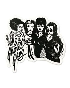 Join the original Queens of Horror: the Bride of Frankenstein, Lily Munster, Elvira, and Morticia Addams. Durable vinyl sticker Suitable for indoor + outdoor use Made in the USA Measurements: x By Culture Flock Frankenstein Tattoo, Bride Of Frankenstein, Creepy Faces, Lily Munster, Cool Keychains, Holiday Pops, Classic Monsters, Pop Up Shops, Monster Art