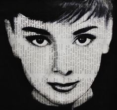 Supreme Portrait Drawing with Charcoal Ideas. Prodigious Portrait Drawing with Charcoal Ideas. Newspaper Drawing, Newspaper Collage, Newspaper Background, Collage Art, Drawing Skills, Drawing Tips, Drawing Ideas, Audrey Hepburn Art, Epic Drawings