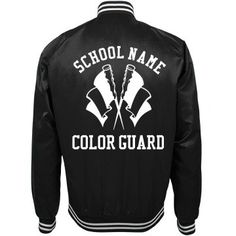 Trending Color Guard School Bomber Jackets   Bomber jackets are really trendy right now so why not make this style your school jacket? Wear your color guard bomber jacket to school, color guard practices, even marching band camp. #guard #colorguard