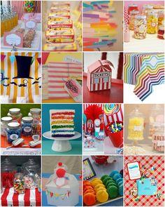 Rainbow circus theme looks very festive!