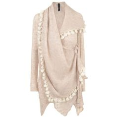 HIGH Wool Tassel detail Wrap Cardigan (365 CAD) ❤ liked on Polyvore featuring tops, cardigans, sweaters, outerwear, jackets, wrap top, long sleeve wrap cardigan, long sleeve cardigan, pink cardigan and wool cardigan