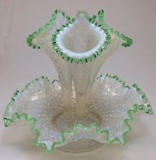 Antique Vintage Vaseline Glass Epergne Fenton Hobnail White Green Opalescent 11""