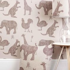 Paperboy collection, how it works wallpaper in stone colour. For kids bedroom