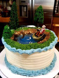 Images of Food. Fish Cake Birthday, Man Birthday, Happy Birthday, Fishing Theme Cake, Fishing Grooms Cake, Fishing Cakes, Dad Cake, Cakes For Boys, Themed Cakes