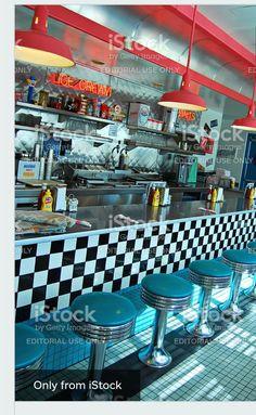 Route 66 Diner in Albuquerque Royalty Free Stock Photo Vintage Diner, Retro Cafe, Retro Diner, Albuquerque Restaurants, Burger Laden, 1990 Style, Diner Restaurant, Retro Interior Design, American Diner