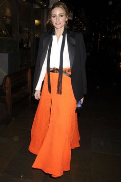 Olivia Palermo Parties In A Bright Orange Floaty Skirt At An Event In London, 2014