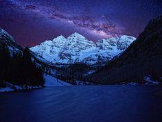 under the starry sky