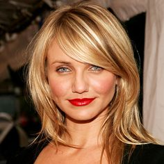 The highlights are key hair colors, layered hairstyles, celebrity hairstyles, side bangs, red lips, cameron diaz, medium hairstyles, low lights, bang bang