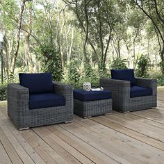 Summon 3 Piece Outdoor Patio Sunbrella(R) Sectional Set, Canvas Navy - Experience the outdoors with exceptional comfort and quality. Summon offers an exquisite two-tone synthetic rattan weave, plush all-weather cushions with industry-leading Sunbrella(R) fabric, UV protection, and a sturdy powder-coated aluminum frame. Featuring rounded arms and an elegant modern look, Summon is an avant-garde outdoor sectional series well-equipped for enhancing patio, backyard or poolside gatherings. This…