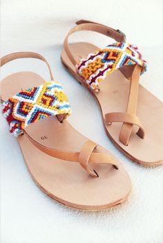 Pretty Sandals, Boho Sandals, Cute Sandals, Leather Sandals, Shoes Sandals, Flats, Shoe Zone, Indian Shoes, Crochet Shoes