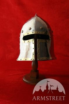 Medieval Barbuta Helm Helmet Armor With Eclusive Brass Accents