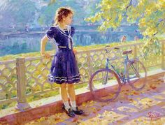 On Patriarcal Pond 2 ~ Vladimir Gusev Bicycle Art, Bicycle Painting, Bike, Franz Kline, Art Themes, Russian Art, Russian Painting, How To Pose, Greg Olsen