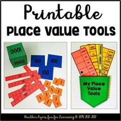 This sweet freebie has lots of different tools for teaching and reinforcing basic place value concepts. It includes a set of printable base 10 blocks, several different place value strips, a set of number cards (includes commas & a decimal card), and a pocket for