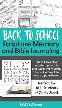 sample pages from the Back to School Scripture Memory & Journaling Bible Study For Kids, Scripture Study, Answer To Life, School Memories, Sunday School Lessons, Eating Organic, Organic Recipes, Back To School, Herbalism