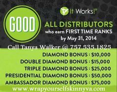 Hurry! Offer ends May 31st! For a $99 start up investment, you can sell all four wraps, and get your $$ back! Then if you sign up 4 peeps in 30 days, you get $120 in FREE product!!!!!