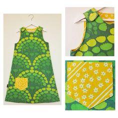 """""""A-linjeformad klänning med ficka för hemliga skatter, till en lite större tös än vad jag vanligtvis brukar sy till  #lillalaxen #bylillalaxen #projectlayway #återbruk #barnkläder #diy #färgförfan #handmade #homemade #itsallaboutthedetails #klänning #madebyme #redo #retro #remake #retrotyg #recycling #retrofabric #retrotextil #retrobarnkläder #vintage #vintagetyg #visytokiga #vintagefabric #vintagetextil"""" Photo taken by @lillalaxen on Instagram, pinned via the InstaPin iOS App…"""