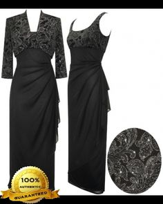 Alex Evenings 421597 Glitter and Chiffon Dress with Matching Bolero (Plus Size) - Mother of the Wedding