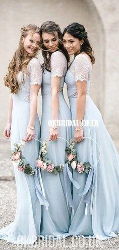 Honest A-line Chiffon Lace Long Bridesmaid Dress, FC4862#bridesmaids #bridesmaiddress #bridesmaiddresses #dressesformaidofhonor #weddingparty #2020bridesmaiddresses Whimsical Bridesmaids Dresses, Pastel Bridesmaid Dresses, Winter Bridesmaids, Bridesmaid Dresses With Sleeves, Wedding Dresses, Wedding Looks, Dream Wedding, Chiffon, Wedding Ideas