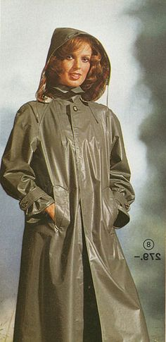 Vintage Grey Rubber Hooded Raincoat.  We've come a long way.