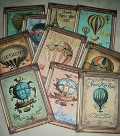 I would love to do these for the playroom.  HOT AIR BALLOONS - A set of 12 flat notecards with envelopes -  included is a lovely organza gift bag - V 19. $18.00, via Etsy.