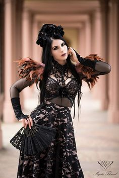 #Black #lace #gothic #victorian #floral #crown , #nude #pink - #black #lace #high #waist #closs #maxi #skirt and #pink #coffee #feather #suspender #shoulder #pads by #mysticthread / e-shop: www.mysticthread.com / Model,Styling: #MademoiselleKarma /  Photographer: #UdoLueck / #UnderworldPhotographics