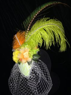White Green Orange Fascinator Hat by EmpireCoutureCostume on Etsy