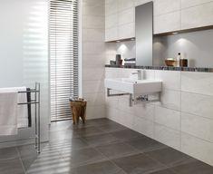carrelage villeroy et boch Brick Tiles Bathroom, Bathroom Tiles Images, Bathroom Tile Stickers, Bathroom Tile Designs, Modern Bathroom Design, Wall Tiles, Bathroom Wall, Bathroom Ideas, Black Bathroom Sets