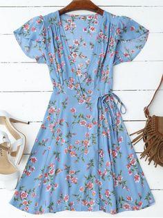 Cap manga abrigo gráfico mini vestido - BLUE L