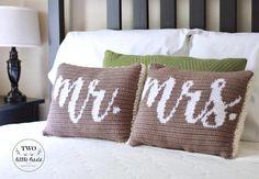 and Mrs Pillow, crochet pillow pattern, tapestry crochet, wedding gift idea,… Crochet Pillow Cases, Crochet Pillow Pattern, Tapestry Crochet, Crochet Gifts, Diy Crochet, Crochet Ideas, Crochet Wedding, Afghan Crochet Patterns, Poncho Patterns