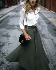 Casual work outfits // long-sleeve white blouse, olive green wrap skirt, black shoulder bag, nude lip { Gucci, winter style, work outfits, professional style, ootd}