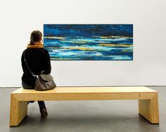 XL Abstract painting  Blue Landscape water van RonaldHunter op Etsy, $419.00