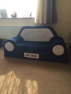 Cardboard children's sofa covered in Draylon