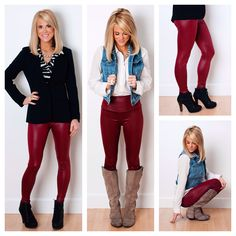 In LOVE with our Red Wine Liquid Leggings! $14.99! Perfect for the holidays.