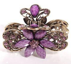 Purple crystal rhinestone hair clip