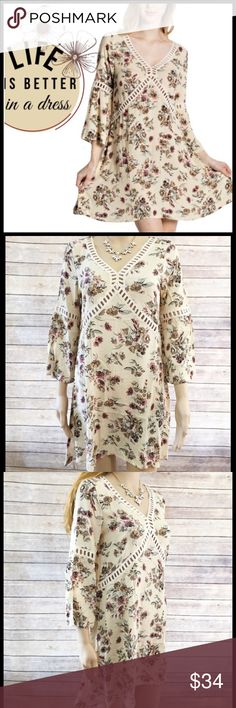 Lace Inset Floral Dress Lace Inset Floral Dress Boutique Dresses