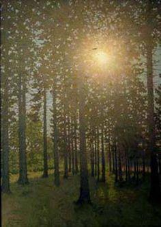 Solen i Granskoven (unknown year) by Valdemar Schönheyder Møller; Aros, Aarhus and Museum Ovartaci, Århus Universitetshospital Risskov