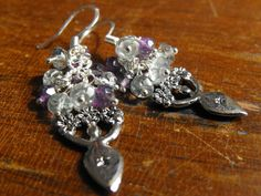 Handmade crystal earrings in silver, amethyst and prasiolite