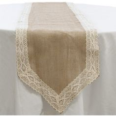 """14"""" Loose Weave Burlap & Lace Table Runner"""