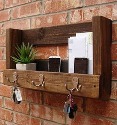 Rustic Entryway Foyer 3 Hanger Hook Coat Rack  Mail by KeoDecor, $65.00