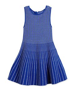 Dot-Striped Knit Fit-and-Flare Dress, Blue, Size 4-7, Girl's, Size: 6/7 - Milly Minis