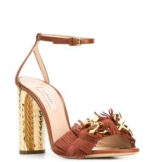 Casadei frayed block heel sandals (11,370 MXN) ❤ liked on Polyvore featuring shoes, sandals, block shoes, leather sandals, block heel sandals, brown sandals and brown leather shoes