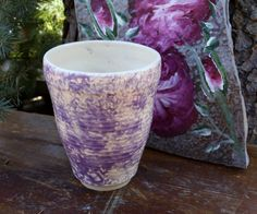 Light Purple Sponge Patterned Cup by WildwoodCeramics on Etsy