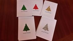 Pack of 5 Handmade Embossed Christmas Cards includes verse.