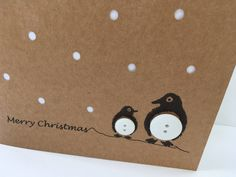 Penguin Christmas Card - Button Penguins with Paper Cut Snow - Handmade Greeting Card - Holiday Card - Set - Pack - Cute Card - Recycled Pinguin-Weihnachtskarte Knopf Pinguine mit Papier Schneiden