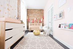 this nursery for a girl - tassel bunting, polka dots, giraffe print, be happy print!