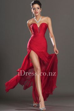 red strapless sweetheart neck beaded slit ruched prom dress