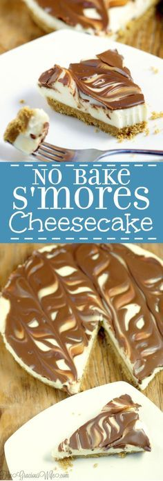Easy No Bake S'mores Cheesecake recipe - a quick and easy no bake s'mores dessert recipe that can be made from scratch in just 10 minutes! Chocolate and marshmallows and cheesecake?! Count me in!